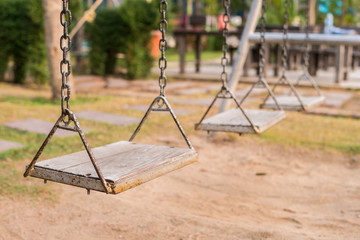 hanging seat in playground.