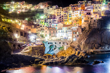 Night view of colorful village Manarola in Cinque Terre