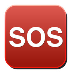 Sos button. round sticker. Metallic icon