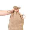 Close up of Hand with burlap sack