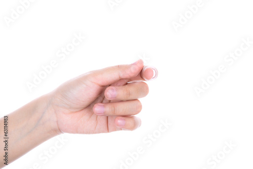Women hand to hold business card ,credit card,blank paper or oth