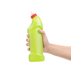 Hand holds detergent bottle