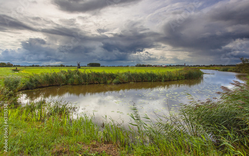 River with Dramatic Clouds In Friesland, Netherlands