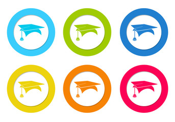 Set of rounded icons with graduation symbol