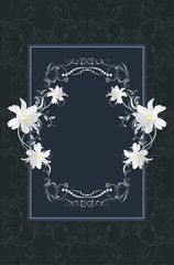 Ornamental frame with white flowers on the dark blue background