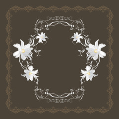 Ornamental frame with white flowers on the dark brown background