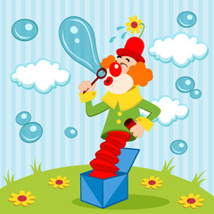 Clown blows bubbles - vector illustration
