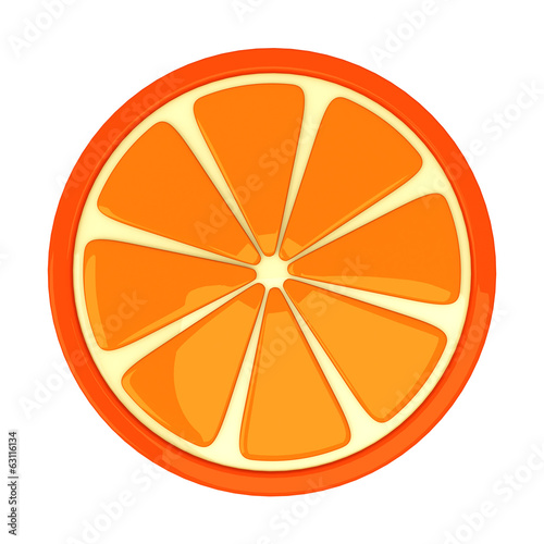 Orange fruit slice, 3d