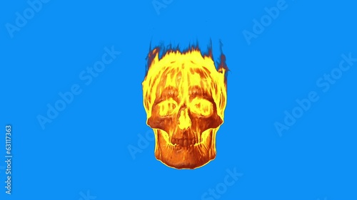 Burning skull on blue screen