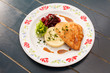 chicken fillet with mashed potato and beetroot salad