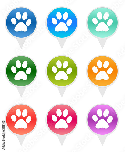 Set of rounded icons for map markers with pet footprints symbol