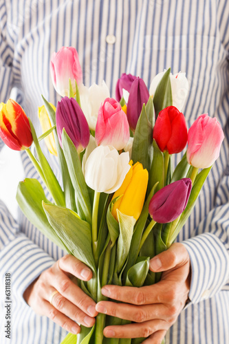bouquet of tulips in a hand