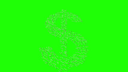 People form dollar sign on green screen.