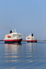 Two Hurtigruten meeting