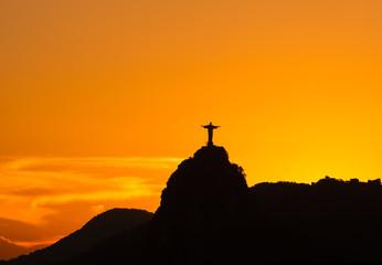 Sunset view of Christ the Redeemer in Rio de Janeiro. Brazil