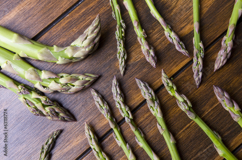 Asparagus Bunch on wood