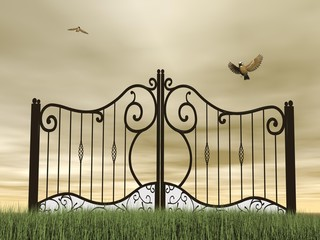 Closed gate in nature - 3D render