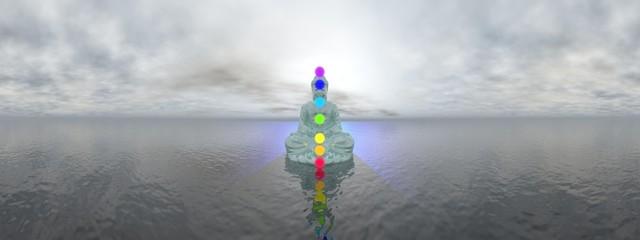 Chakras at blue sunset - 3D render
