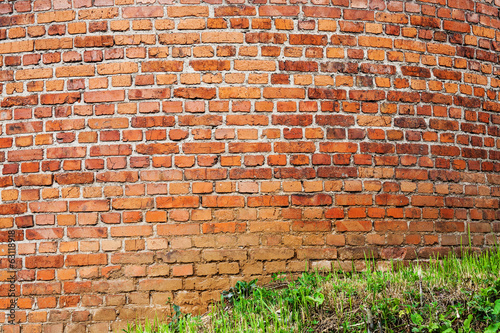 wall from red brick and lawn