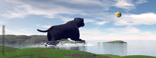 Labrador playing - 3D render