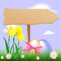 Narzissen und Eier mit Wegweiser