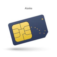 State of Alaska phone sim card with flag.