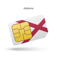 State of Alabama phone sim card with flag.