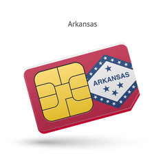 State of Arkansas phone sim card with flag.