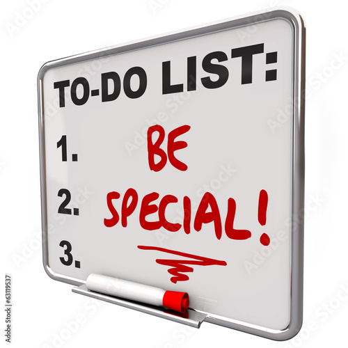 Be Special To Do List Dry Erase Board Unique Different Distincti