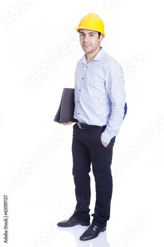 Handsome engineer with folder, isolated on white
