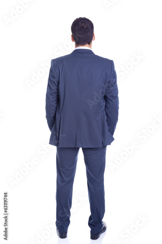 Confident business man from the back, isolated on white