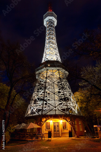 Prague Lookout Tower with the night illumination