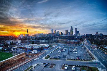 sunset over city of charlotte north carolina