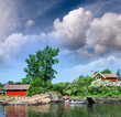 Oslo, Norway. Colourful homes over Oslofjord on a beautiful summ