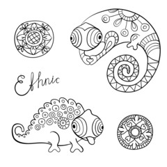 Cute chameleon and flowers in ethnic style..