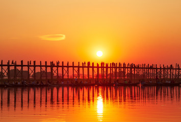 U Bein Bridge at sunset. Amarapura, Myanmar.