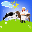 Happy Milkman and Dairy Cows on a green meadow.Sticker.Vector