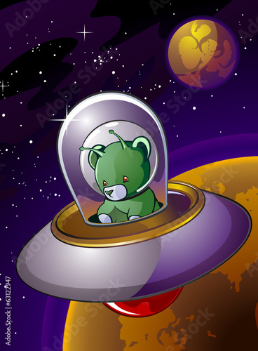 Alien Teddy Bear Cartoon Character in a Flying Saucer