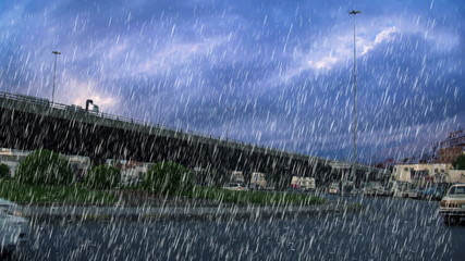 heavy rain over bridge in the city of Jeddah in the morning