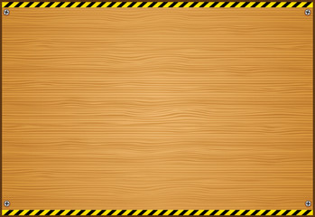 Wood Plank Background with Caution Tape Pattern