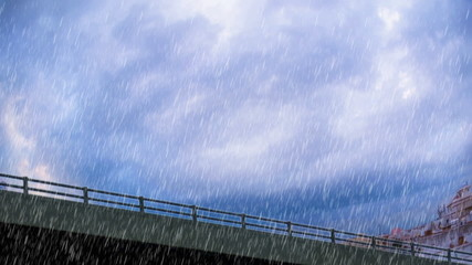 heavy rain over bridge in the city of Jeddah closeup