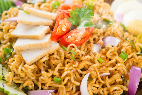 Close up Dry Instant Noodle