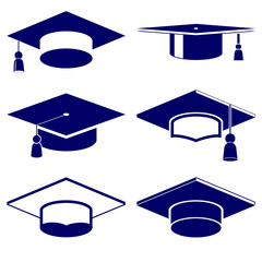 Graduation cap icon  set vector  illustration