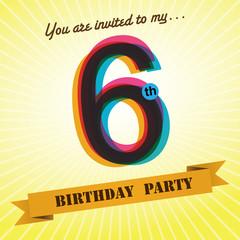 6th Birthday party invite/template design retro style - Vector
