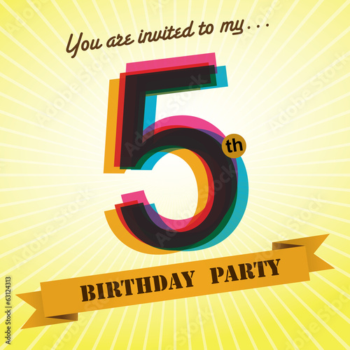 5th Birthday party invite/template design retro style - Vector