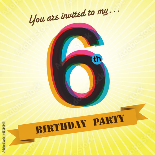 6th Birthday party invite/template design retro style - Vector