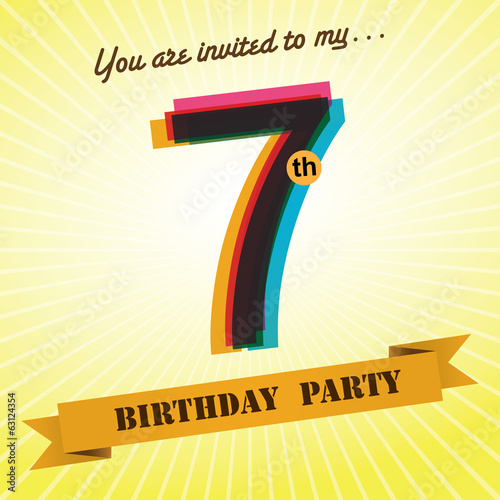 7th Birthday party invite/template design retro style - Vector
