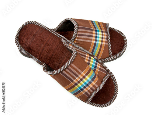 brown slippers isolated on white