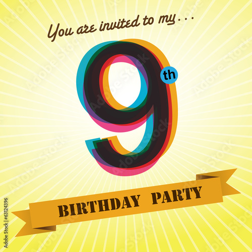 9th Birthday party invite/template design retro style - Vector