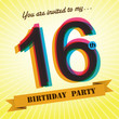 16th Birthday party invite/template design retro style - Vector